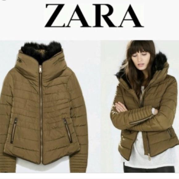 51e2d378 Zara olive puffer coat fur hood medium